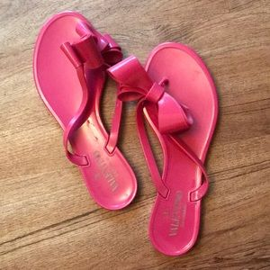 Valentino - Pink Jelly Bow Flip Flops